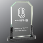Clipped Corner Premier Glass with Black Marble Base Achievement Awards