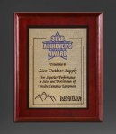 Cherry Finish Panel; Gold Tone Plate Achievement Awards