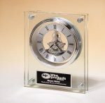 Large Glass Clock with Skeleton Movement Boss Gift Awards