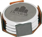 Leatherette Round Coaster Set with Silver Edge -Gray Boss Gift Awards