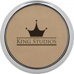 Leatherette Round Coaster with Silver Edge -Light Brown Kitchen Gifts