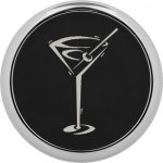 Leatherette Round Coaster with Silver Edge -Black  Misc. Gift Awards