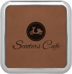 Leatherette Square Coaster with Silver Edge -Dark Brown Misc. Gift Awards