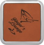 Leatherette Square Coaster with Silver Edge -Rawhide Misc. Gift Awards