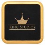 Leatherette Square Coaster with Gold Edge -Black Misc. Gift Awards