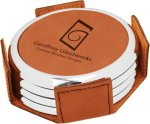 Leatherette Round Coaster Set with Silver Edge -Rawhide Misc. Gift Awards