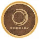 Leatherette Round Coaster with Gold Edge -Rustic/Gold  Misc. Gift Awards