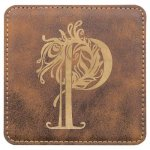 Leatherette Square Coaster -Rustic/Gold Misc. Gift Awards