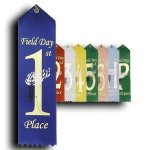 Field Day -  1st Place Ribbon Peaked Top Award Ribbons