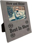 Leatherette Photo Frame with Large Engraving Area- Gray Photo Gift Items