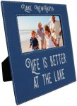 Leatherette Photo Frame with Large Engraving Area -Blue/Silver Photo Gift Items