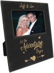 Leatherette Photo Frame with Large Engraving Area -Black/Gold Photo Gift Items