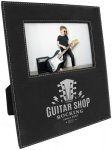 Leatherette Photo Frame with Large Engraving Area -Black/Silver Photo Gift Items