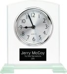 Square Arch Clear Glass Desk Clock with Split Step Base Sales Awards