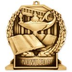 Standup Medal -Book & Lamp Scholastic Trophy Awards