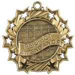 Ten Star Medal -Perfect Attendance  Scholastic Trophy Awards