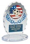 Clear & Blue Standing Oval Sculpted Ice Award Soccer Trophy Awards