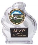 Clear Wave Sculpted Ice Award Soccer Trophy Awards