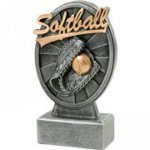 Pinwheel Script Softball Resin Softball Trophy Awards