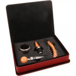 Leatherette 4 Piece Wine Tool Set -Rose' Wine Gifts